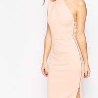 ASOS One Shoulder Midi Dress With Exposed Zip
