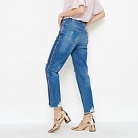 Womens fashion week  Moda Frayed Hem Cropped Jeans stylish outfit
