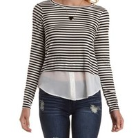 Ivory Combo Long Sleeve Layered Pullover Top by Charlotte Russe