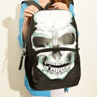 Skull Print backpack large gear zip students bag Free Shipping
