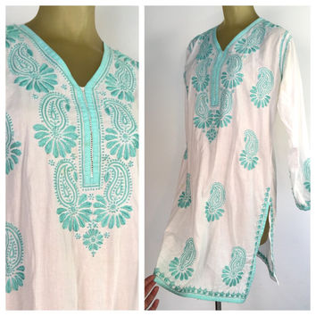 maternity boho-chic unique creation turquoise-salmon long sleeves Indian printed silk-cotton buttoned plastron Boho-tunic dress