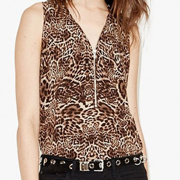 Brown V-Neck Leopard Print Zip Front Top