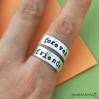 Forever Friends ring, Custom Ring, Personalized Ring,BFF ring, Best friends gifts, Twist ring, wrapped ring, Adjustable ring, besties gifts