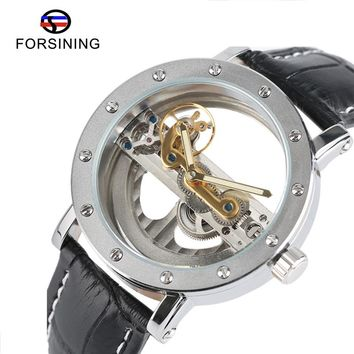 FORSINING Hollow Automatic Mechanical Watch Men Fashion Luxury Brand Leather Band Wrist Watches Business Casual Men's Clock 2017