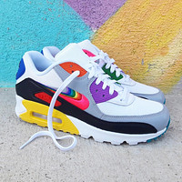 "Nike Air Max 90 ""BeTrue"" rainbow color block half palm cushioned sneakers shoes"