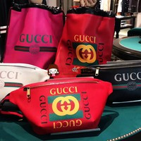Gucci Stylish and easy to carry big pockets Zipper Waist Bag Five Color