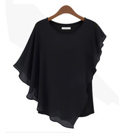 Black Irregular Sleeve Blouse