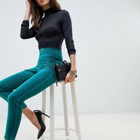 ASOS DESIGN Rivington high waisted velvet jeggings in emerald at asos.com