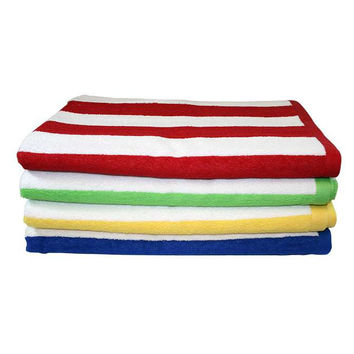 Cabana Striped Loop Terry Beach Towel with Personalization Option
