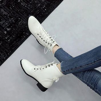 Round Toe Lace Up Women's High Heeled Ankle Boots