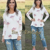 Ivory Multi Floral Cow Skull Long Sleeve Top