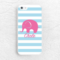 Custom name Phone Case for iPhone 6, iPhone 5 4 5c, LG G3 G2 Nexus 5, Monogram Case elephant Phone Cover - Striped with personalized name
