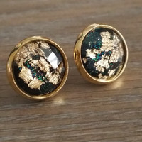 Faceted Black Gold leaf silver tone stud earrings