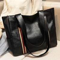 New fashion stripe shoulder bag handbag women Black