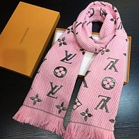 LV Trending Women Embroider Easy to match Silk Scarf Pink Grey G-TMWJ-XDH