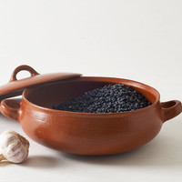 Oaxifornia Red Clay Round Pot with Top and Handles : MARCH