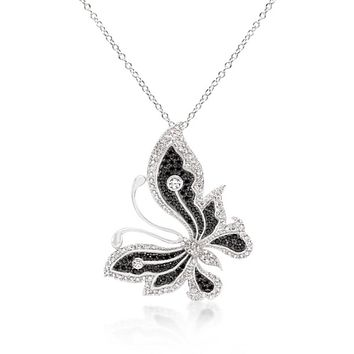 Black And White Large Cz Butterfly Pendant