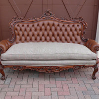 Tufted Ornate French Baroque Sofa Loveseat Couch with Suit-Style Ultra Cool Plaid Cushion