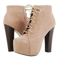 Laced Up Thick Heel Ankle Boots TAUPE