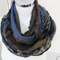 Blue brown men scarves, Handmade scarves, Earth-toned scarf, Unique scarf, Men Christmas gifts, Design scarves, Unisex Winter scarf