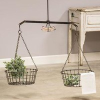 Decorative Rustic Distressed Hanging Scale w/ Two Wire Baskets