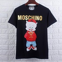 MOSCHINO Summer Couple Cute Pig Print Pure Cotton T-Shirt Top Black