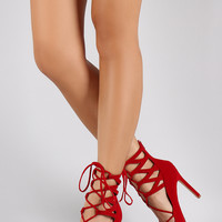 Liliana Velvet Corset Lace Up Pointy Toe Pump