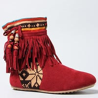 The If You Say So Native Print Bootie in Wine by Sole La Vie | PLNDR.com
