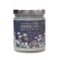 WATER LILY Candle, 8oz Soy Blend, Scented Candle, Monet Art Candle, Floral Water Lily Fragrance, Art History Impressionist, Gift For Artists