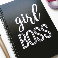 Writing journal, spiral notebook, sketchbook, bullet journal, black and white, blank lined or grid paper- Girl boss