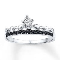 Black & White Diamonds 1/10 ct tw 10K White Gold Crown Ring