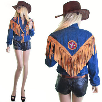 paso fino concho jacket country western wear southwestern seed bead suede leather fringe hippie boho cowboy cowgirl denim vintage 80s jacket