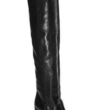 Silas Knee-High Leather Boots in Black