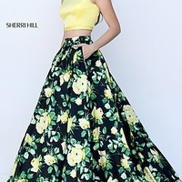 Two Piece Floral Print Gown by Sherri Hill