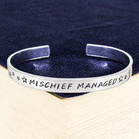 Mischief Managed Bracelet - Harry Potter - Adjustable Aluminum Bracelet