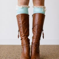 MINT Lace Boot Socks Stretchy Over the Knee Knit Boot Socks With Lace Ruffle and Buttons Women's Fashion LegWear (BS-110A)