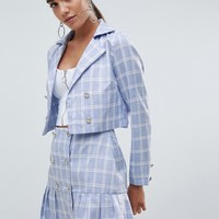 Missguided Cropped Check Tailored Jacket at asos.com