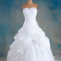A-line Sweetheart Sleeveless Floor-length Taffeta Organza Lace  Wedding Dress With Hand-Made Flowers Applique Beading Free Shipping