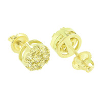Cluster Set Round Earrings Canary Lab Diamond Screw Back 14k Yellow Gold Finish