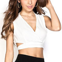 White Sleeveless V -Neck Crop Top with Tie Back