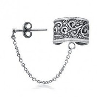 Bling Jewelry Celtic Swirl Tribal Ear Cuff with Chain One Piece 925 Silver