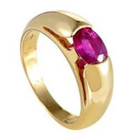 ONETOW Bulgari Gold Ruby Solitaire Band Ring