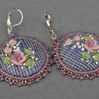 Round handmade embroidered earrings in vintage style cool fashion gift ideas