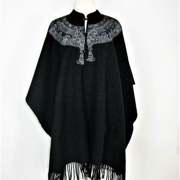 Boho Chic Vintage Wool Fringe Poncho Cape by Molina - Made in Mexico