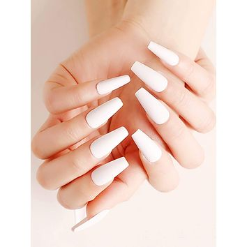 24pcs Solid Fake Nails & Double Sided Tape