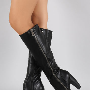 Bamboo Side Zipper Heeled Knee High Boots