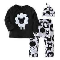 Newborn Infant Clothes Baby Boys Girls Clothing Set Cartoon Printing Long Sleeve Tops+Pants+Hat 3PCS Outfit Suit