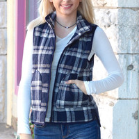Cozy Up Quilted Plaid Vest {Navy Mix}