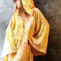 Waiting List Custom Order Vintage Romantic Hippie Bohemian Gypsy Lace Hoodie Dress Quaker Lace Hand Dyed Majik Horse