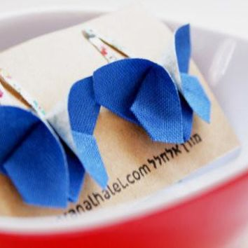 Blue Origami Butterfly Hair Clip Set